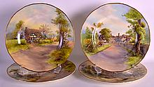 A SET OF FOUR ROYAL WORCESTER CABINET PLATES decorated with landscapes by N Nicholls, two others decorated by J Allen, C1953. (4)