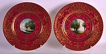 A PAIR OF ROYAL WORCESTER CABINET PLATES by G H Evans, in the Art Nouveau manner, painted with central landscapes. 10.5ins diameter.