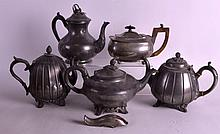 FOUR ANTIQUE PEWTER TEAPOTS together with a plated