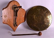 A LATE 19TH CENTURY EASTERN ENGRAVED BRASS GONG to