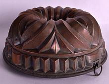 A VICTORIAN COPPER JELLY MOULD. 9.5ins diameter.
