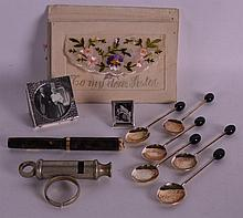 TWO MINIATURE SILVER PHOTOGRAPH FRAMES together wi