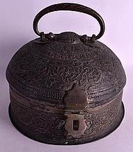 AN UNUSUAL 19TH CENTURY INDIAN PIERCED COPPER BOX