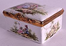 A MID 18TH CENTURY BILSTON ENAMEL RECTANGULAR BOX