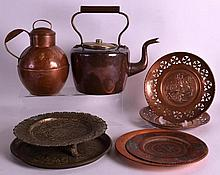 TWO VICTORIAN COPPER POTS together with various ot