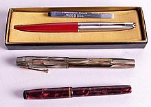 A WATERMANS MARBLE EFFECT FOUNTAIN PEN together wi