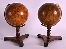 A FINE PAIR OF NEWTON TERRESTRIAL LACQUERED GLOBES