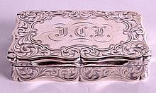 A VICTORIAN SILVER SNUFF BOX of rectangular form,