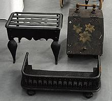 A VINTAGE COAL SCUTTLE together with a fender & pi
