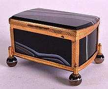 A LATE 19TH CENTURY FRENCH CARVED RECTANGUALR AGAT