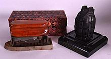 AN UNUSUAL VINTAGE GRENADE ASHTRAY together with a