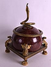 A 19TH CENTURY FRENCH RED MARBLE AND ORMOLU SNAKE