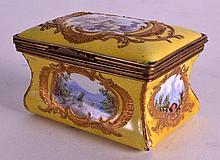AN 18TH CENTURY BILSTON ENAMEL RECTANGULAR BOX pai