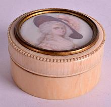 A LATE 19TH CENTURY CARVED IVORY PORTRAIT MINIATUR