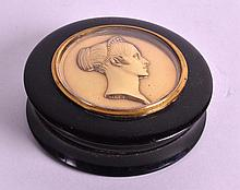 A MID 19TH CENTURY CARVED HORN AND BRONZE SNUFF BO