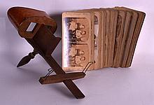 AN EDWARDIAN WALNUT VENEERED VIEWER together with