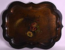 A VICTORIAN BLACK LACQUER SCALLOPED TRAY painted w
