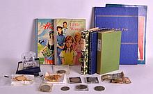 A GROUP OF VINTAGE BOOKS together with notes, coin