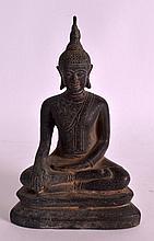 A 19TH CENTURY THAI BRONZE BUDDHA modelled upon a