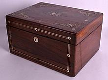 A VICTORIAN ROSEWOOD TRAVELLING VANITY BOX the top