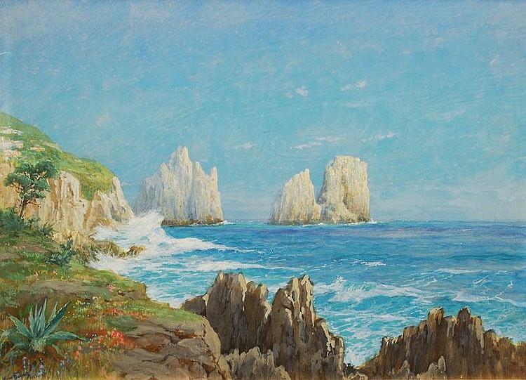 Hans Bohrdt Berlin 1857-Berlin 1945 Capri Gouache,