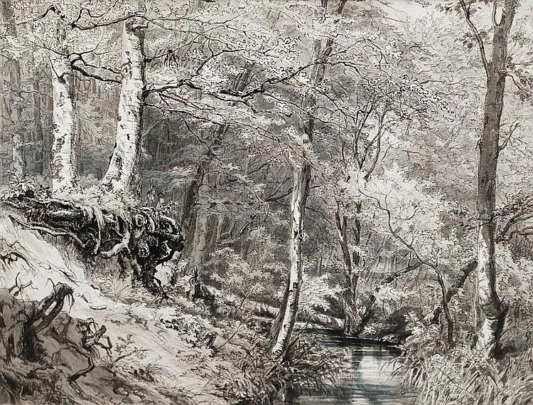 Raab, Johann Leonhard.  Schwaningen 1825 - München 1899  Wooded Brookside