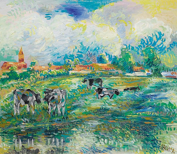 Spanier Will Hamburg 1894 Mölln1957Cows Oil/board,