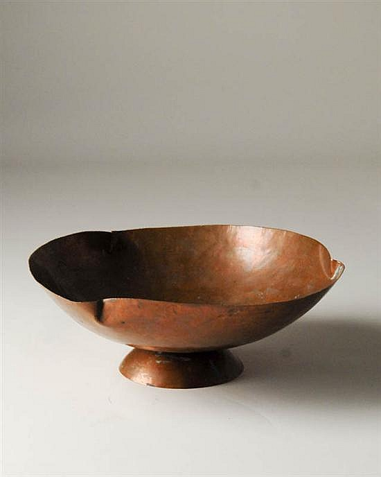 Guildcraft hand wrought footed copper bowl for Guildcraft arts and crafts