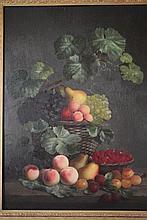 Huile sur toile: «Nature Morte aux Pêches et aux Framboises». Non signée. Dim: 77 x 57 cm.
