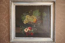 Huile sur toile: «Nature Morte à La Coupe de Fruits». Dim: 35 x 26,5 cm.