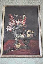 Huile sur toile, «Nature Morte aux fruits et aux fleurs. Monogrammée J.W en bas à droite. H: 96 cm – l: 67 cm. Epoque début XXème.