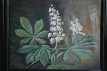 Huile sur toile «Etude à la Branche de Marronnier». Signée J. Nielsen. Dim: 46,5 x 59,5 cm.
