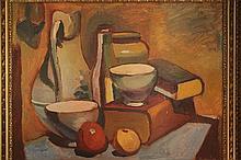 Huile sur toile «Nature Morte aux fruits et aux livres». Signée Olesen et datée 54. Dim: 49,5 x 66 cm.