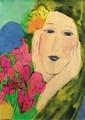 *Walasse Ting (1929-2010) Portrait de Jeune Femme,