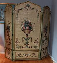 HAND PAINTED 3 SECTION FOLDING SCREEN