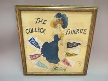 Painting on Canvas of College Pennant Girl