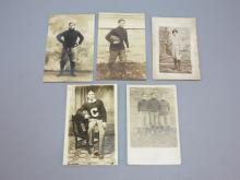(5) Early Football Player Photo Postcards