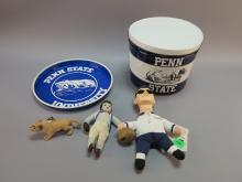 (5) Penn State Items. Joe Paterno Doll, Football Player