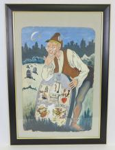 George Bucher Untitled Painting of Man with Gravestone