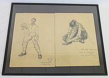 George Bucher Framed Sketches of Man Sitting on Chair & Person Tying Their Shoe, 1954