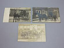(3) Sunbury PA Horse and Carriage Photo Postcards, Fire Engine