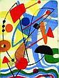 Max Ackermann Schatzpreis Berlin 1887 - 1975 Unterlengenhardt Abstrakte Formen, die in ihrer Zusammensetzung eine Figur beschreiben. -