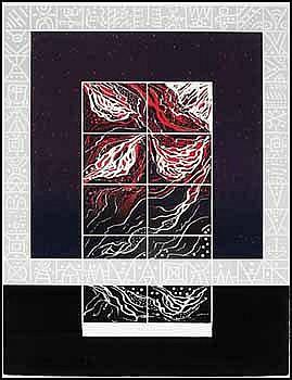René Derouin 1936 - Canadian lithograph on paper Un monde en devenir et en continuité