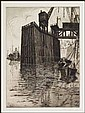 Sybil Andrews 1898 - 1992 Canadian etching Low Tide, Limehouse