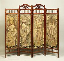 ALFONS MUCHA (1860-1939) DRESSING SCREEN WITH THE MOTIF OF MUCHA'S THE TIMES OF THE DAY