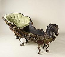 BAROQUE CHILD'S SLED WITH THE HEAD OF A HORSE