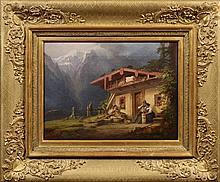 JOSEF NAVRÁTIL (1798-1865) ALPEN LANDSCAPE WITH A HOUSE