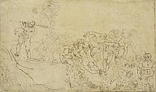 UNKNOWN ITALIAN MASTER THE LAST JUDGEMENT, PEN AND INK DRAWING ON PARCHMENT