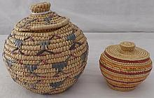 2 Alaskan Indian Baskets w/Lids