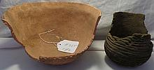 2 Anasazi Corrugated Damaged Pottery Bowls